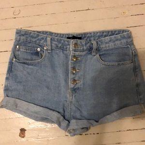 High Waisted Light Jean Shorts Forever 21